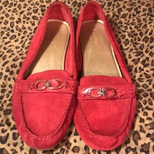 Ravishing Red Suede Coach Loafers Size 11
